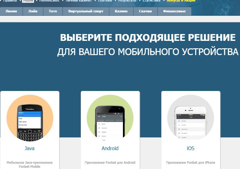 Мобильная версия и приложение  Fonbet